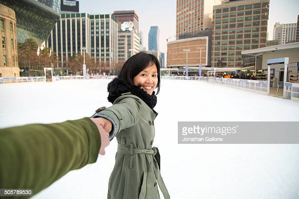 POV of a Woman Ice Skating