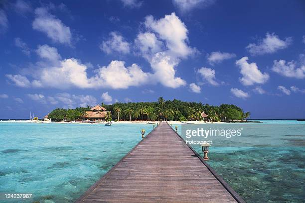 a Wooden Boardwalk Heading to the Island, Surrounded By the Clear Ocean, Front View, Far View, Maldives, Micronesia
