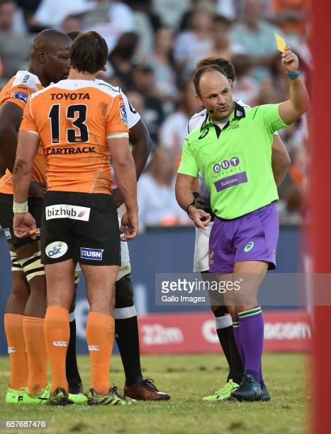 a yellow card for Oupa Mohoje of the Cheetahs by Jaco Peyper during the Super Rugby match between Toyota Cheetahs and Cell C Sharks at Toyota Stadium...