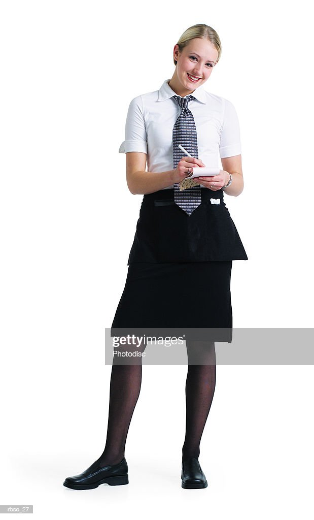 a young attractive blonde waitress in a black skirt and tie stands ready to take your order