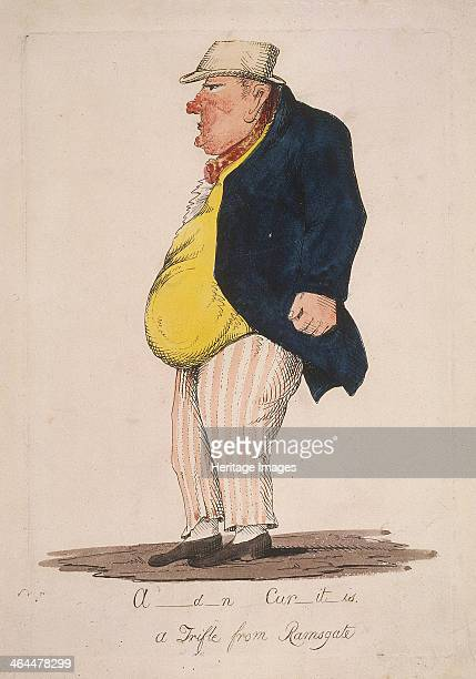 'A_d_n Cur_it_is a Trifle from Ramsgate' c1821 Showing a profile view of Sir William Curtis later Lord Mayor of London He is wearing striped trousers...