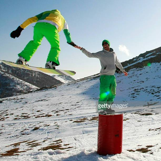 Aa snowboarder jumps in the snowpark in the Val d'Ese ski resort in Bastelica close to Ajaccio in the French Mediterranean island of Corsica on March...