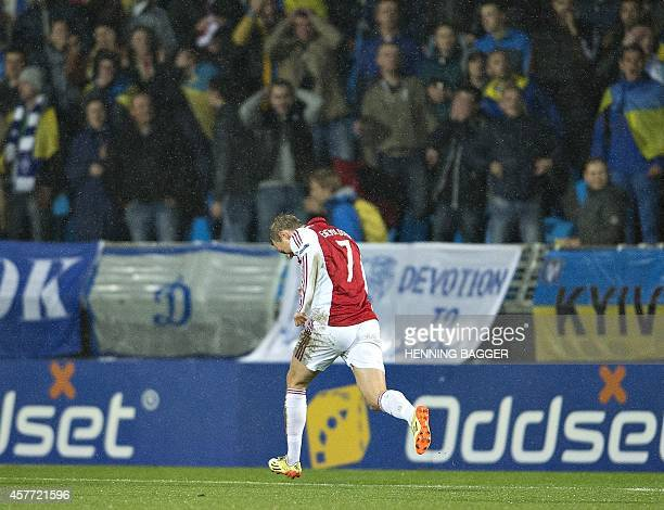 AaB's midfielder Thomas Enevoldsen celebrates scoring during the UEFA Europa League Group J football match Aalborg BK vs FC Dynamo Kyiv on October 23...