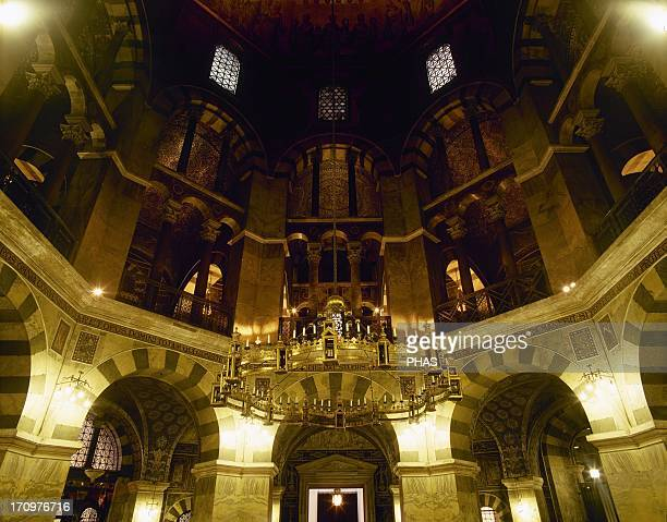 Aachen Cathedral Palatine Chapel Bronze chandelier provided by emperor Barbarossa 1168 Germany