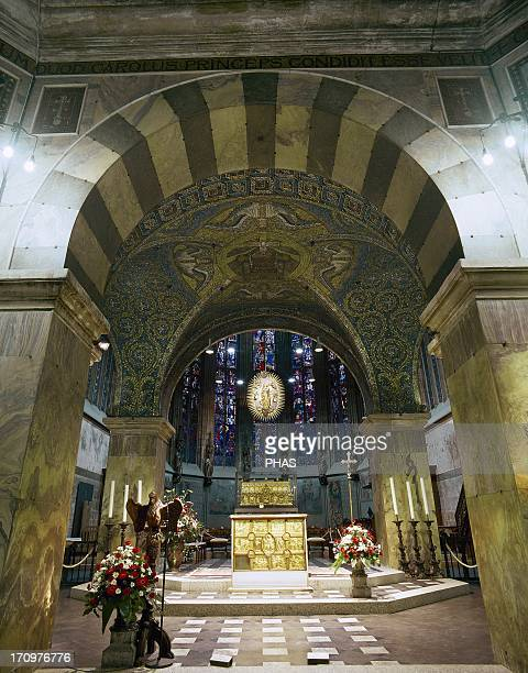 Aachen Cathedral Palatine Chapel Interior with main altar know Pala d'Oro and Shrine of the Virgin Mary Germany