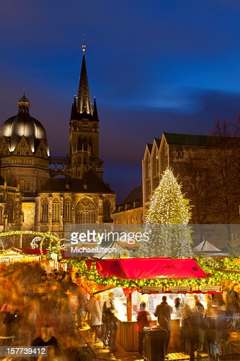 Aachen Christmas Market And Cathedral At Night