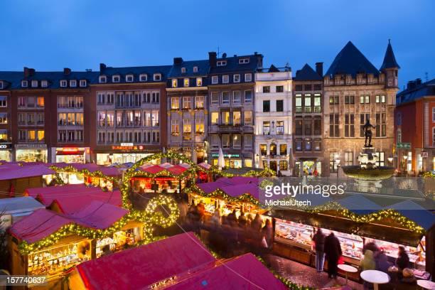 Aachen Christmas Market Panorama At Night