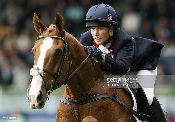 British rider Zara Phillips on 'Toy Town' jumps the Eventing individual competition of the World Equestrian Games in Aachen in Germany 27 August 2006...