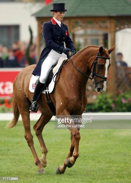British rider Zara Phillips on 'Toy Town' takes part in the eventing dressage competition of the World Equestrian Games in Aachen 25 August 2006 The...