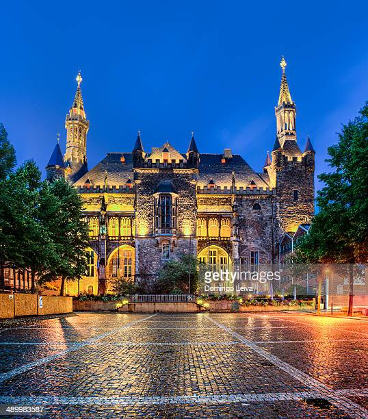 Aachen town hall at night.