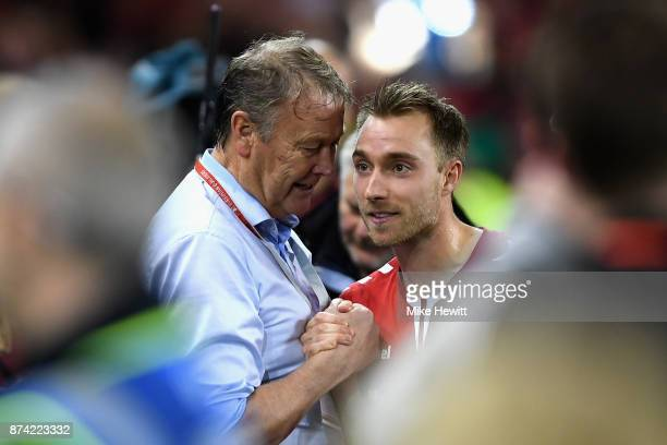 Aage Hareide Manager of Denmark and Christian Eriksen of Denmark celebrate victory after the FIFA 2018 World Cup Qualifier PlayOff Second Leg between...