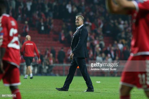 Aage Hareide the manager of Denmark after the FIFA 2018 World Cup Qualifier between Denmark and Poland at Parken Stadion on September 1 2017 in...