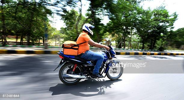 Aakash from Online Grocery Shopping portal Grofers going to deliver the consumables to the client on May 7 2015 in Gurgaon India