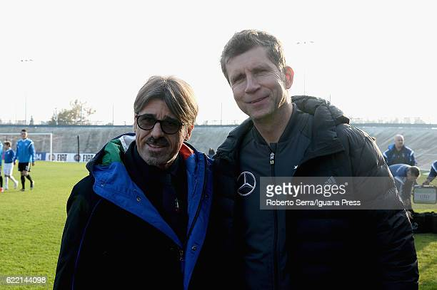 Aalberico Evani head coach of Italy meets Guido Streichsbier head coach of Germany during the Four Nations tournament match between Italy U20 and...