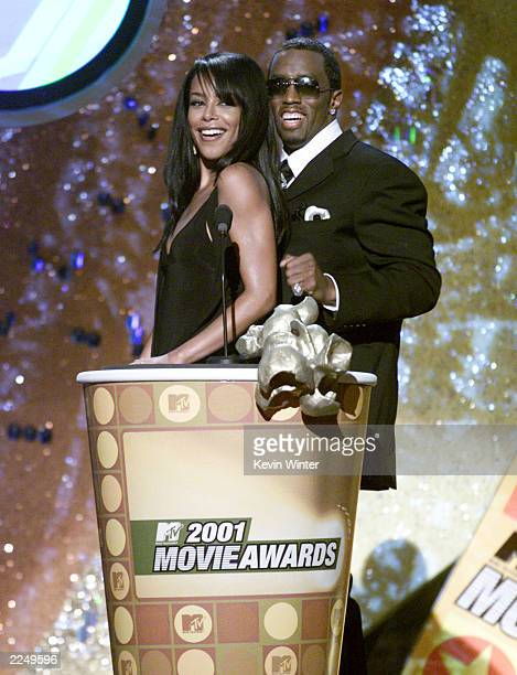 Aaliyah and Sean Combs present at the 2001 MTV Movie Awards at the Shrine Auditorium in Los Angeles Saturday June 2 2001