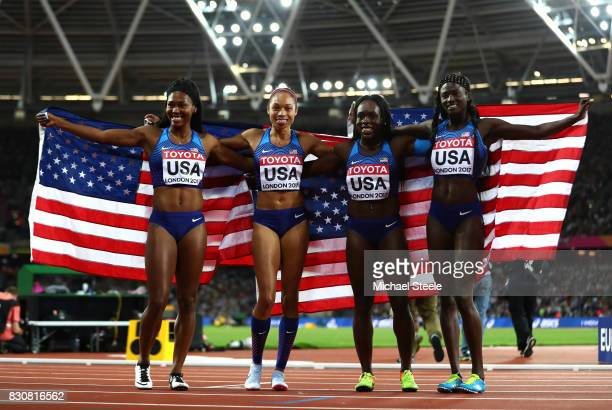 Aaliyah Brown Allyson Felix Morolake Akinosun and Ariana Washington of the United States celebrate winning gold in the Women's 4x100 Metres Final...