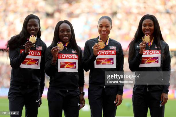 Aaliyah Brown Allyson Felix Morolake Akinosun and Tori Bowie of the United States gold pose with their medals for the Women's 4x100 Metres Relay...