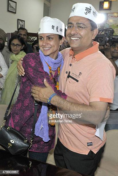Aam Aadami Party candidate from Chandigarh parliamentary seat Gul Panag along with others AAP supporters filling the nomination papers for the...