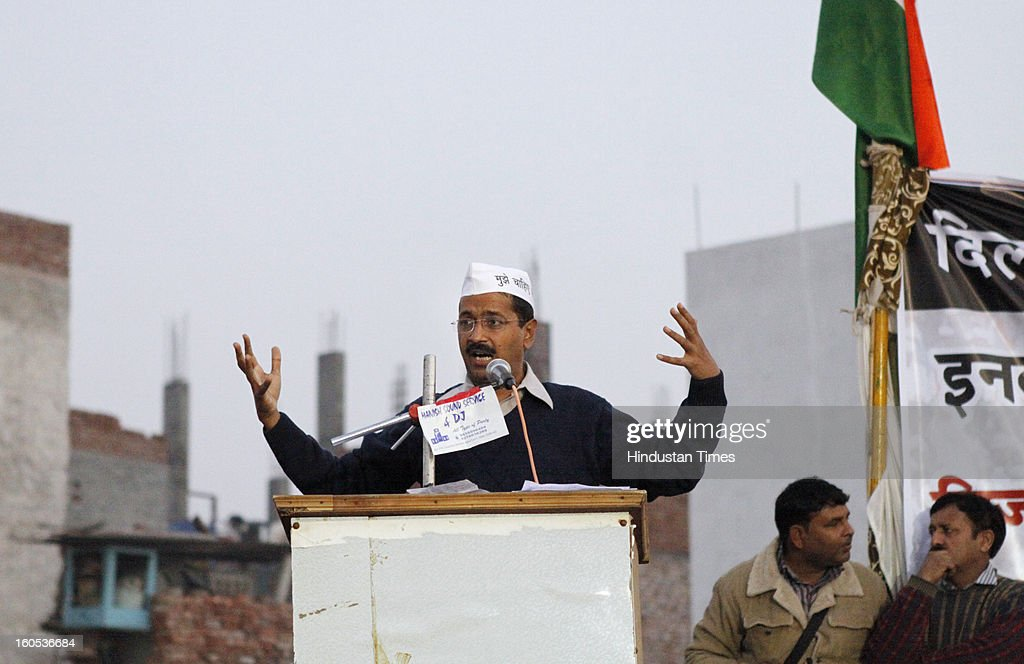 Aam Aadmi Party leader Arvind Kejriwal addressing the first rally at Najafgarhon February 2, 2013 in New Delhi, India. Arvind Kejriwal raised the question of increase in prices of electricity and water as many as 18 times over few years in Delhi.