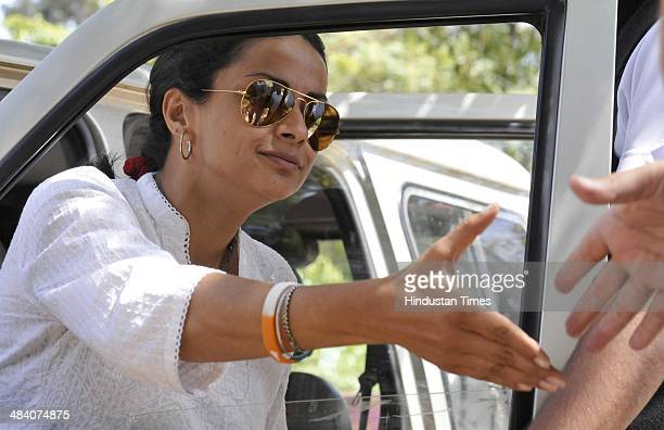 Aam Aadmi Party Lok Sabha candidate from Chandigarh Gul Panag at her residence a day after polling on Apriil 11 2014 in Chandigarh India