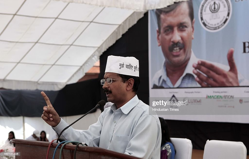 Aam Aadmi Party national convenor Arvind Kejriwal addressing students at Sri Guru Gobind Singh College of Commerce on March 5, 2013 in New Delhi, India. Arvind Kejriwal today said his invitation to Wharton India Economic Conference and cancellation of invitation to Gujarat Chief Minister Narendra Modi were not linked as he has accepted the invitation 10 days back.