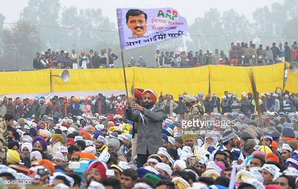 Aam Aadmi Party supporters during a public rally of Delhi Chief Minister Arvind Kejriwal on the occasion of Maghi Mela at Muktsar on January 14 2016...