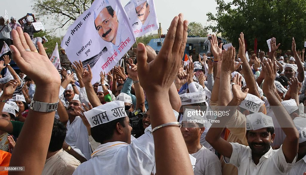 Aam Aadmi Party (AAP) supporters on way to submit a memorandum to CM Vasundhara Raje for prohibition of liquor in state, being stopped by the police officials, on May 29, 2016 in Jaipur, India.