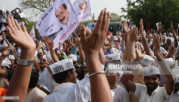 Aam Aadmi Party supporters on way to submit a memorandum to Rajasthan CM Vasundhara Raje for the prohibition of liquor in the state being stopped by...