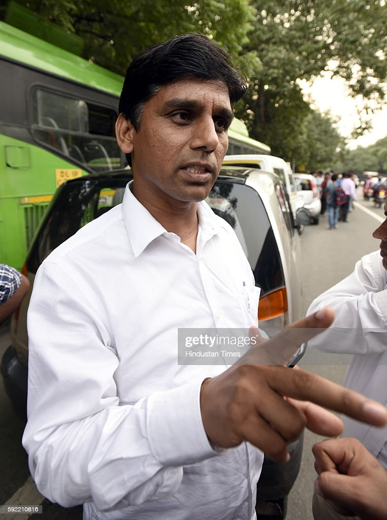 Aam Adami Party Delhi MLA Naresh Yadav leaves after attending the hearing at Election Commission of India over office of profit row at ECI HQ on...