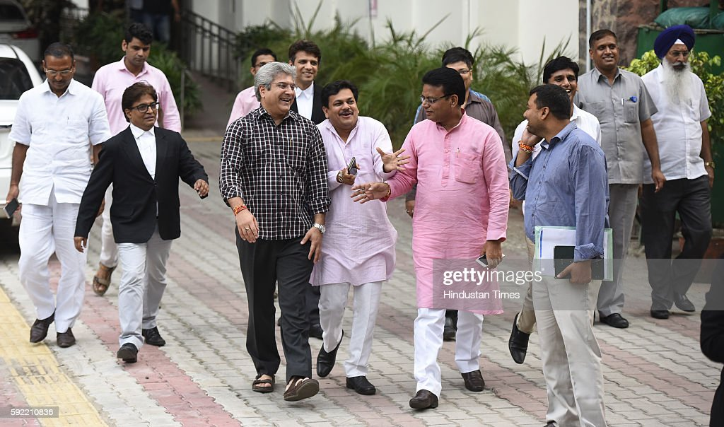 Aam Adami Party Delhi MLAs leave after attending the hearing at Election Commission of India over office of profit row at ECI HQ on August 19 2016 in...