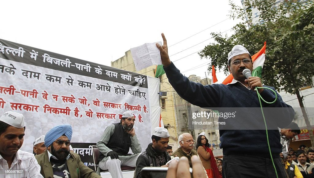 Aam Adami party leader Arvind Kejriwal during a rally at Mansarovar Park near Shahadara on February 3, 2013 in New Delhi, India. Kejriwal accused Delhi Chief Minister Sheila Dikshit of conniving with power distribution companies and not allowing lowering of tariff.