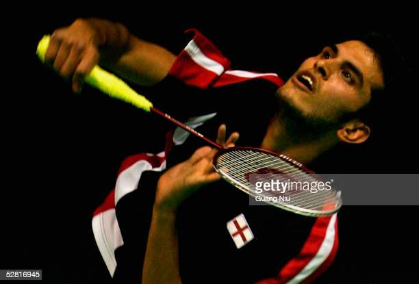 Aamir Ghaffar of England returns a shot during the 2005 Sudirman Cup World Mixed Team Badminton Championships against Hong Kong at the Capital...