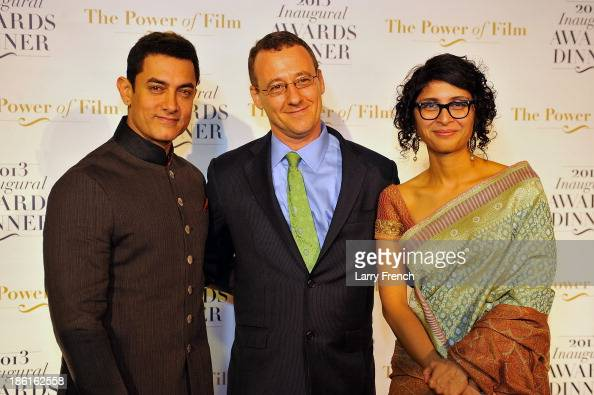 R Aamir Kahn Aaron Lobel and Kiran Rao attend the 2013 America Abroad Media Awards Dinner at Andrew W Mellon Auditorium on October 28 2013 in...