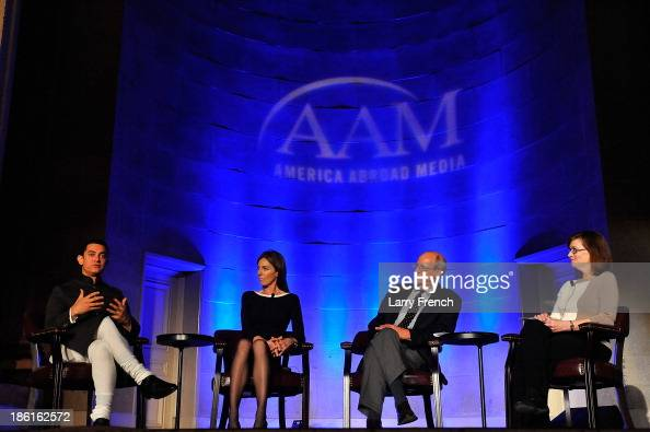 Aamir Kahn Kathryn Bigelow Steve York and Ann Hornaday hold a panel discussion at the 2013 America Abroad Media Awards Dinner at Andrew W Mellon...