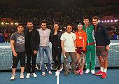 Aamir Khan Akshay Kumar Reitesh Deshmukh Deepika Padukone Sunil Gavaskar Sania Mirza Novak Djokovic and Roger Federer at a proam match during the...