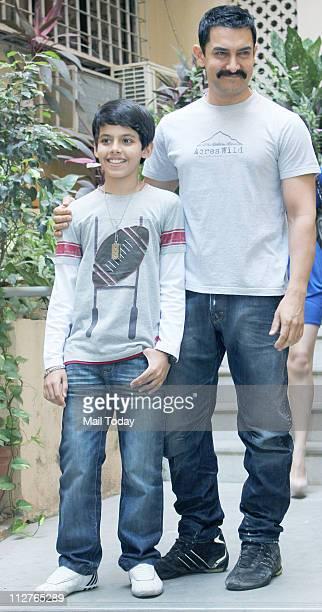 Aamir Khan and Darsheel Safary promote their upcoming film Zokkomon in Bandra
