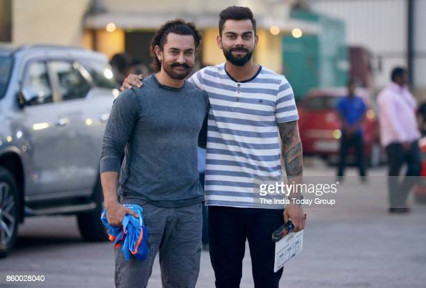 Aamir Khan and Virat Kohli during reality show shoot at P3 studio Mudh Malad Mumbai