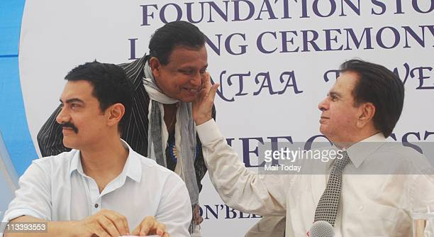 Aamir Khan Mithun Chakraborty and Dilip Kumar at the foundation stone laying ceremony of CINTAA Tower at Andheri in Mumbai