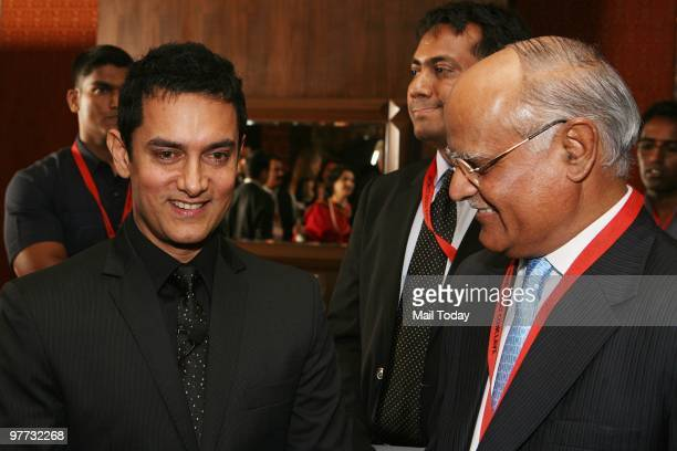Aamir Khan with India Today editor Prabhu Chawla at the dinner party hosted after the India Today Conclave ended in New Delhi on March 13 2010
