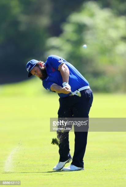 AAndrew Johnston of England plays his second shot on the 9th hole during day two of the BMW PGA Championship at Wentworth on May 26 2017 in Virginia...