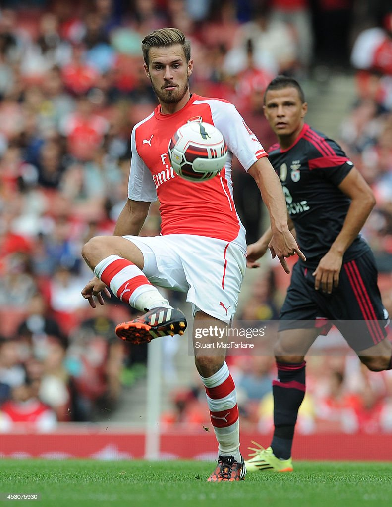 Aaorn Ramsey of Arsenal during the match between Arsenal and Benfica at Emirates Stadium on August 2, 2014 in London, England.