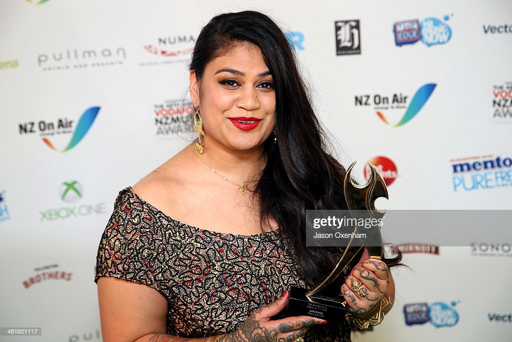 Aaradhna poses with the award for album of the year during the New Zealand Music Awards at the Vector Arena on November 21, 2013 in Auckland, New Zealand.