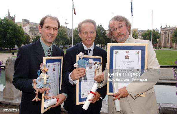 Aardman Animations trio David Sproxton Nick Park and Peter Lord after the Freedom of the City ceremony in Bristol yesterday evening