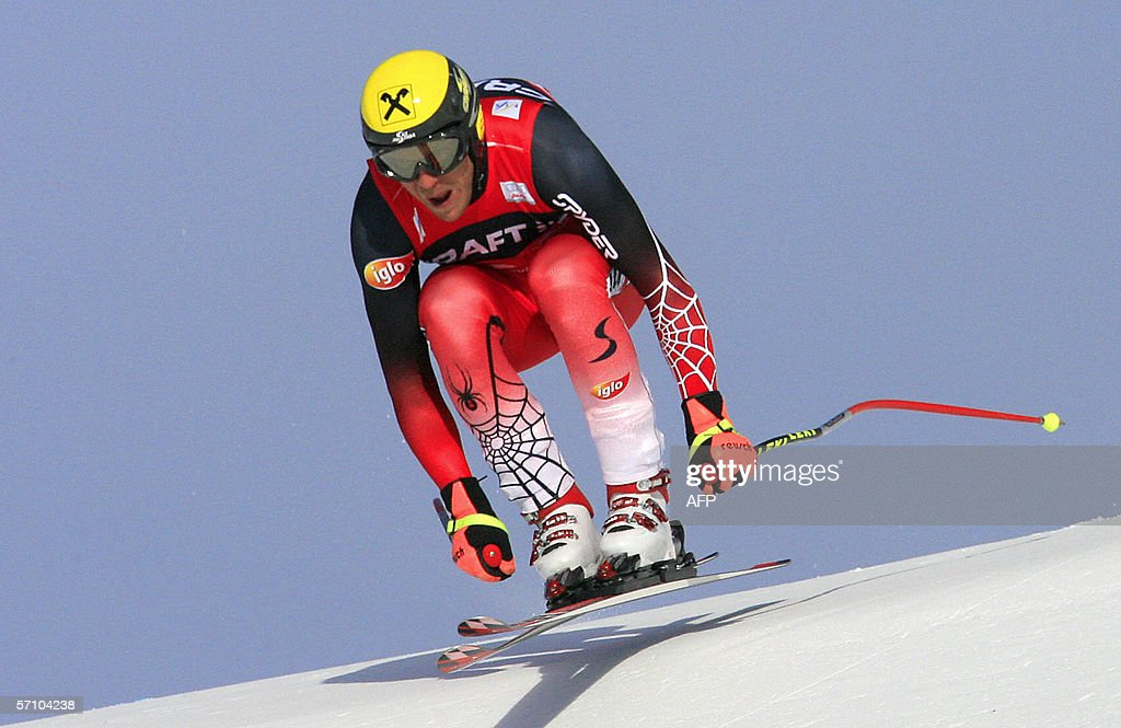 Austrian Hermann Maier clears a jump in the SuperG at the Alpine Ski World Cup finals 16 March 2006 in Aare northern Sweden Svindal won the overall...