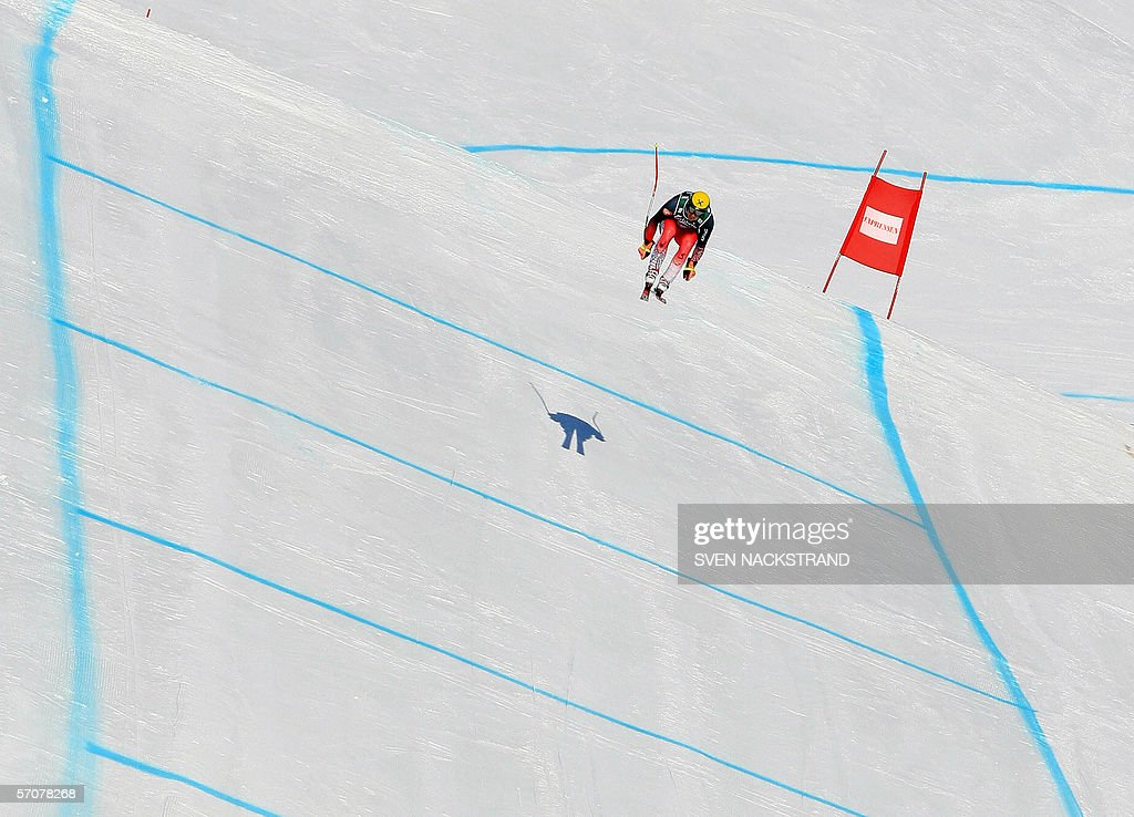 Austrian Hermann Maier takes the last jump before clocking the 14th best time in the downhill training 14 March 2006 in Aare Sweden where the womens...