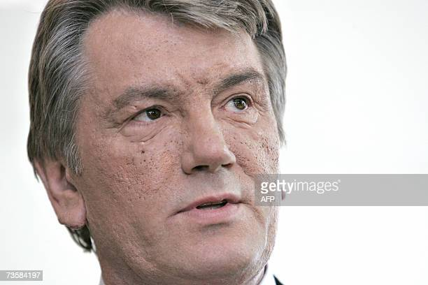 Ukrainian President Viktor Yushchenko attends a press conference at Art Museum ARoS in Aarhus western Denmark 15 March 2007 Yushchenko is on a twoday...