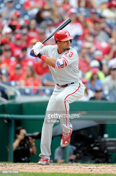 Aaron Altherr of the Philadelphia Phillies bats against the Washington Nationals at Nationals Park on September 10 2017 in Washington DC