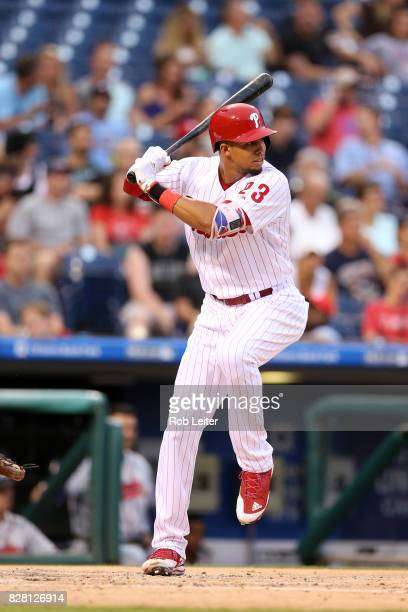 Aaron Altherr of the Philadelphia Phillies bats during the game against the Atlanta Braves at Citizens Bank Park on July 28 2017 in Philadelphia PA...