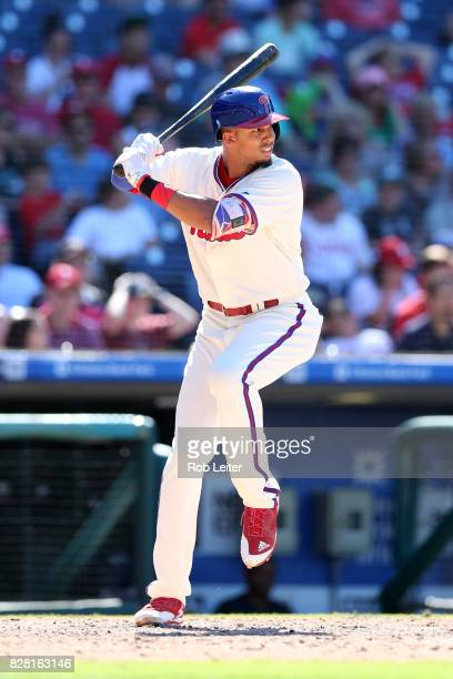 Aaron Altherr of the Philadelphia Phillies bats during the game against the Atlanta Braves at Citizens Bank Park on July 30 2017 in Philadelphia PA...