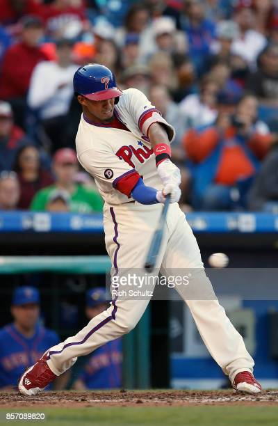Aaron Altherr of the Philadelphia Phillies delivers a pitch against the New York Mets during the first inning of a game at Citizens Bank Park on...